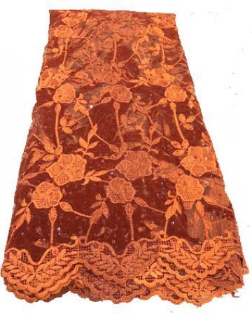 burnt orange net velvet lace